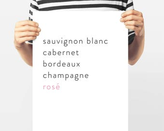French Typography,Rosé and Champagne, French Wines, French Word Art,Paris Collection,Bar Art, Black and White Gallery Wall, Francophile Gift
