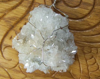 Quartz crystal Cluster from Peru Sterling Silver wire wrap necklace pendant - white clear plate stone rock quartz point mineral specimen QA2