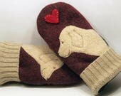 Felted Wool Sweater Mittens Wine Red and CreamGolden Retriever Applique and Leather Palm Eco Friendly Upcycled  Size M