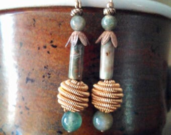 Handmade mossy stone drop earrings with a boho vintage feel  Unique & one-of-a-kind!