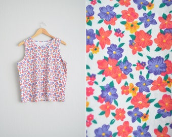 Size L/XL // FLORAL TANK Top // Sleeveless - Cotton - Twee - Grunge - Vintage '80s/'90s.