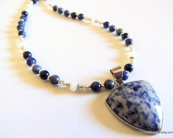 Sodalite Bezel Pendant Beaded Necklace, Blue Gemstone