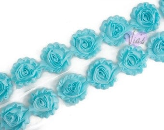 "Aqua : 14 Flowers  | 2.5"" Chiffon Craft Roses for Headband DIY Kits 