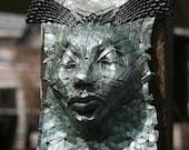 Nereid - origami mask with glossy enamel glaze
