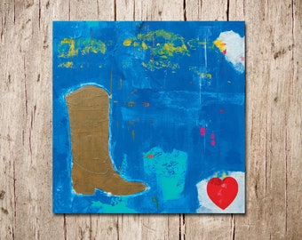Cowboy Abstract - Original Canvas Painting - Country Heart - Cowgirl Boot - 'The Blues' - 24in x 24in - Artist Nicole Dietz