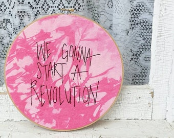 Revolution hoop // one of a kind hand dyed, hand stitched, large cotton embroidery