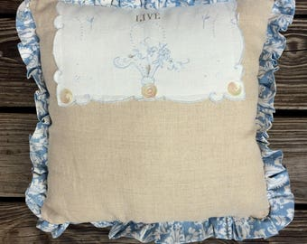 Linen Pillow Handmade with Hand Stenciled Vintage Doily Overlay, Vintage Buttons