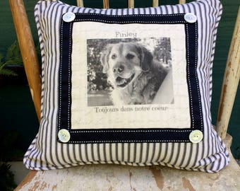 Pet Loss Remembrance Pillow, Custom Made Personal Photo on Linen, Cherished Pet Memorial Pillow, Pet loss Gift, Pet keepsake