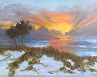 Sunrise on the Dunes, Original Oil Painting on Canvas Panel 6x8 inches