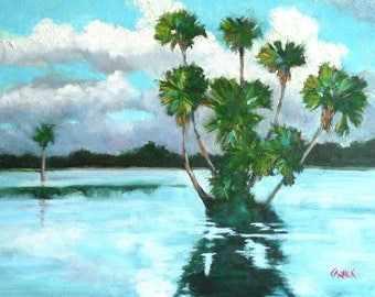 Oil Painting, St Johns River, 9x12 Oil on Canvas Panel, Florida River