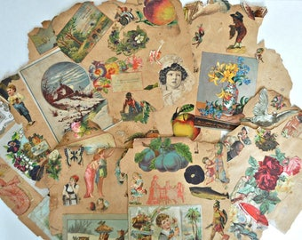 Victorian Scrapbook Ephemera - Trading Cards - Greeting Cards - Magazine Pictures