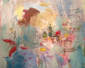 Grandmothers Kitchen /  Abstract  expressive colorful abstract painting