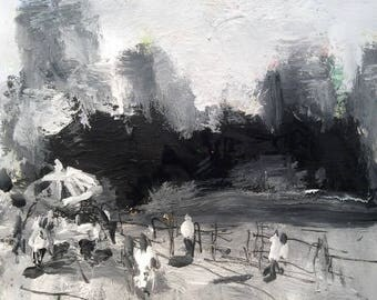 Brooklyn Heights, Black and White Urban Landscape painting, monochromatic acrylic expressionist painting