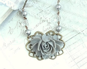 Gray Rose Necklace Large Rose Necklace Victorian Necklace Romantic Necklace Gray Flower Necklace