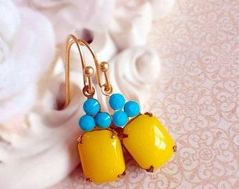 SALE 20% Off Bright Yellow Earrings - Turquoise Earrings - Spring Jewelry - Petite Earrings - Flirty Earrings - REGENCY Sunshine Yellow