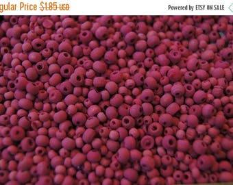 SUMMER SALE Small Matte Finished Rich Raspberry Pink  Round Wood Beads -2-4mm - 200 pcs