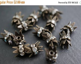 SUMMER SALE Vintage Greenish Brown Rhinestone Spacers with Prongs for End Beads Clasps - 6mm - 5 pcs