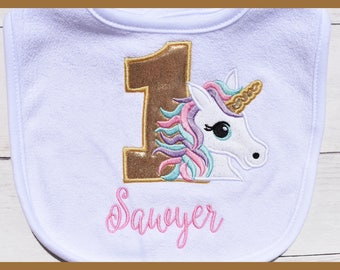 Baby Girl Birthday Unicorn bib, Unicorn birthday, First Birthday bib, Monogrammed bib, cake smash, Unicorn party
