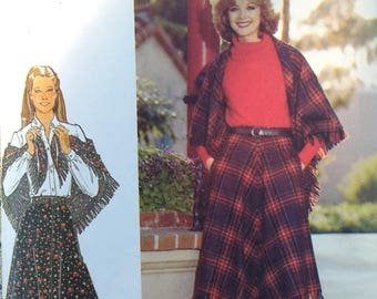 """Butterick 5619 Misses Fringed Skirt and Shawl Pattern 26 1/2"""" inch waist 36"""" inch hips"""