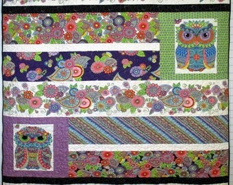 Groovey Owl and Flowers Quilt with Minky Backing