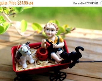 Save25% Fall Miniatures 5 piece set-Black cat-pumpkin basket-Trick or treating with friends is always fun-straw filled red wagon-Terrarium d