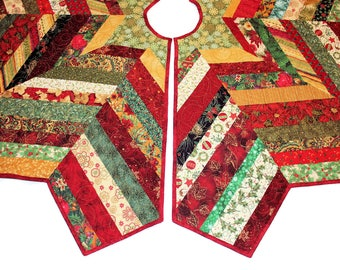 "Quilted Christmas Tree Skirt - 56"" Chevron Style Tree Skirt Quilt, Red Green Gold Scrappy Patchwork Christmas Decor, Quiltsy Handmade"