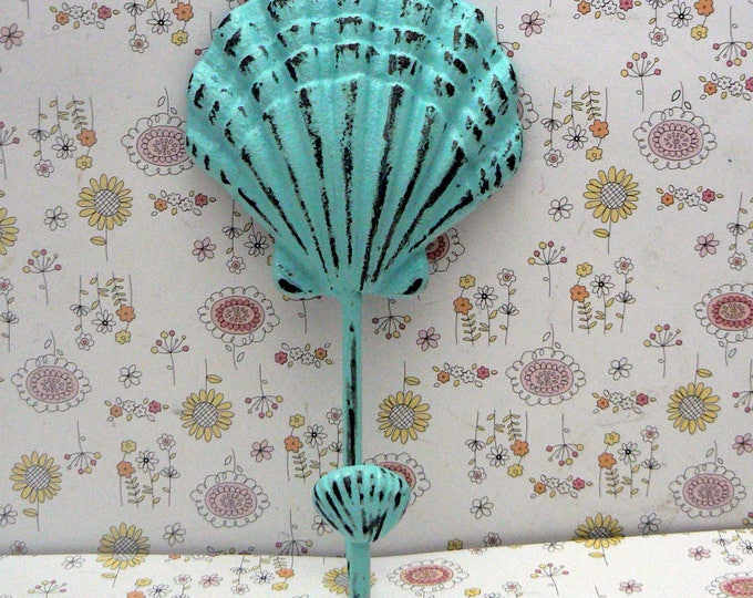 Seashell Cast Iron Hook Blue Cottage Chic Shabby Chic Nautical Beach Home Decor