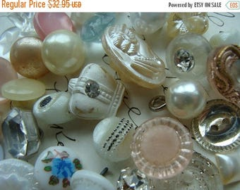 ON SALE 38 Gorgeous Antique Buttons Vintage Glass Buttons Rhinestone Wedding Button Jewelry Collection Lot N0 21