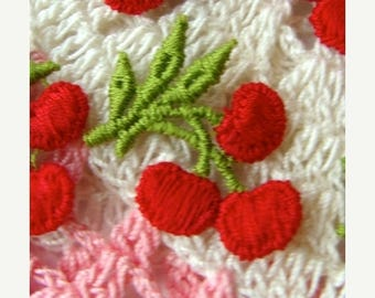 ONSALE 6 Vintage Kitsch Embroidered Cherry Appliques