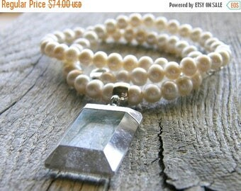 Summer Sale 20% Off Pearl and Crystal Quartz Pendant Necklace