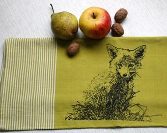 Fair Trade handwoven tea towel 'Little fox' green