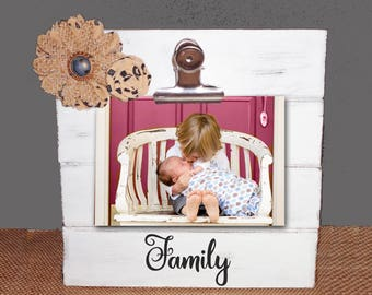 Personalized Farmhouse Stand up desktop Wedding Wood  Photo Clip Frame 4 x 6 Shabby Chic Family, Love, Best Friends