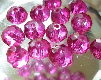 8mm Fuchsia Rondelle Crystals 8