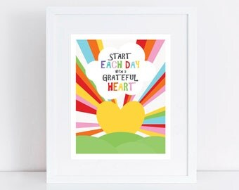 heart sunrise art print - start each day with a grateful heart - positive message wall art for kids, inspirational art, quote print, rainbow