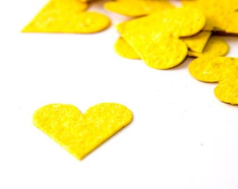"200 Bright Yellow Plantable Seed Paper Hearts ""Let Love Grow"" Eco Wedding Favor Bridal Shower Favor Thank You Cards, Invitation Party Favor"