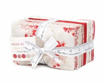 SALE Red Cream Tan Miss Scarlet Fabric - Fat Eighths Bundle - Minick and Simpson - Moda