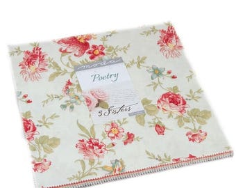 SALE Poetry Prints Layer Cake Fabric - Moda - 3 Sisters