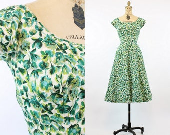 50s Swing Dress XS / 1950s Vintage Floral Dress / Meet Me in The Garden Dress