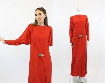 30s Silk Wrap Dress XS Small  / 1930s Vintage Gown Rhinestone Clip  / Pre Code Oscar Dress