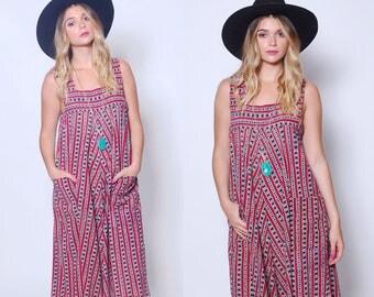 Vintage 70s INDIAN Dress Cotton Block Print Sundress JUDITH ANN Dress Boho Tent Dress Indian Cotton Dress