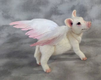When Pigs Fly Pig O Let Piglet Realistic with Feather Wings OOAK  Needle felted Fiber Arts Sculpture Artist Doll by Stevi T.