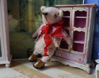 """OOAK Artist Bear - HENRY - 5"""" Tall Soft Pink German Mohair Collectible Teddy Bear"""