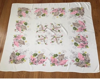 Vintage 1950's Mid Century Pink and Gray Floral Tablecloth