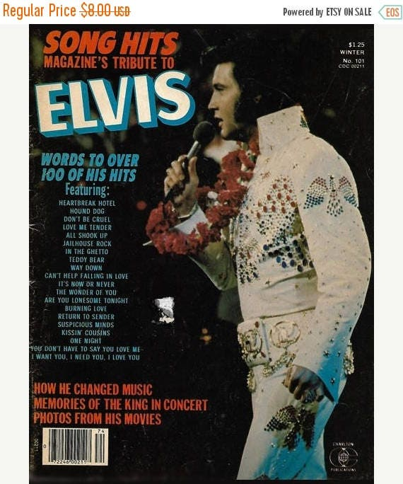 Christmas in July Sale 1977 Song Hits Magazine Tribute to Elvis with lyrics to over 100 of his hits by Charlton Publications with 8 x 10 RCA