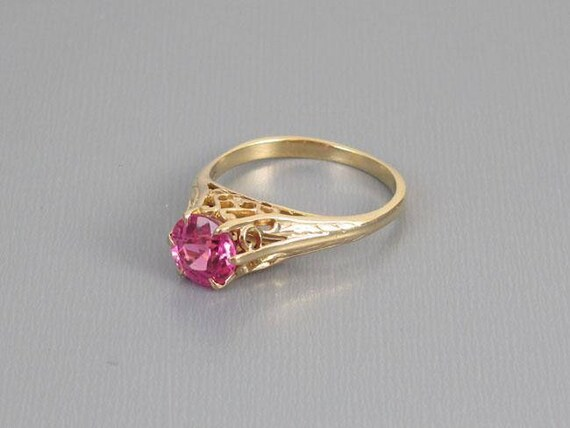 Antique Edwardian 10k gold synthetic pink sapphire filigree solitaire ring, size 8, antique ring, vintage ring, ring, edwardian, pink, girly