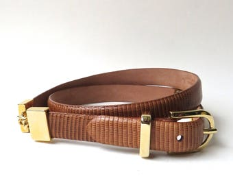 Talbots vintage Brown Reptile Embossed Narrow Leather Belt with Gold Tone Metal Links / Made in Italy