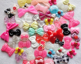 50 pcs - Resin bow cabochon mix (only one set)