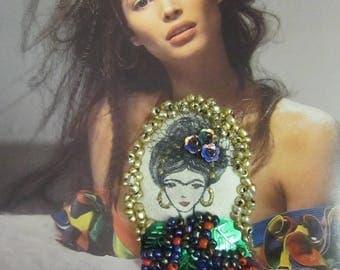 Mixed Media Brooch, Frida Brooch, Romantic, Artsy Brooch, Fairy Brooch, Art to Wear,