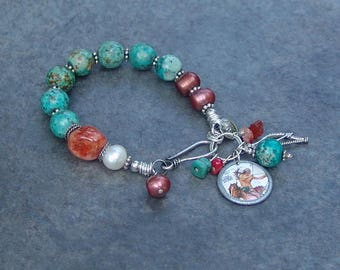 Native American Indian Charm Bracelet with Sterling Silver and Turquoise