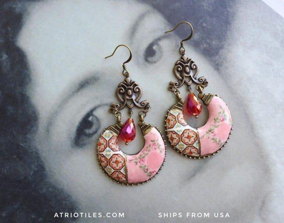 Chandelier Earrings Bohemian Tile Portugal Antique Azulejo   ESMORIZ  (see Abandoned Home) Mosaic Majolica  Bohochic  Pink Palace Frescoes
